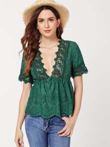 Lace Applique Ruffle Hem Top
