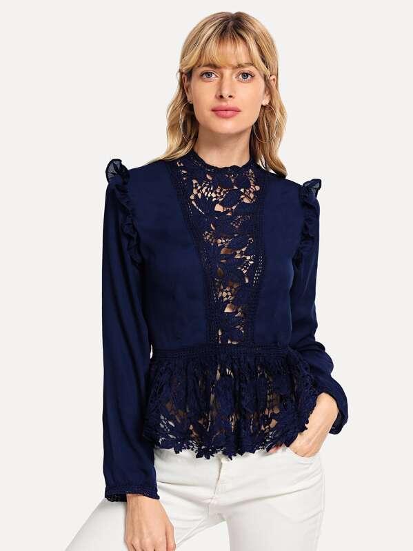 12b5e90da0 Cheap Frilled Shoulder Lace Insert Peplum Top for sale Australia   SHEIN