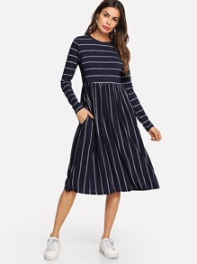 Mixed Striped Smock Dress