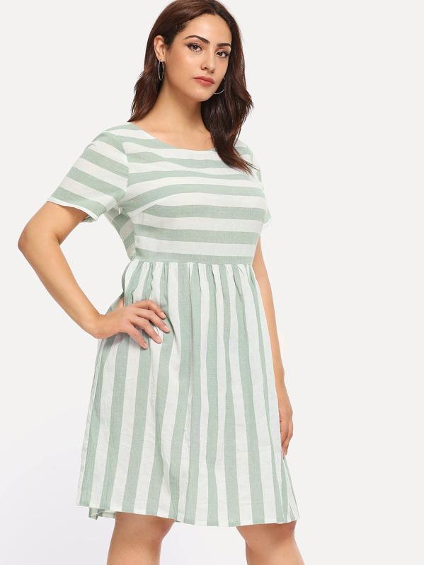 65f5913a0813 Cheap Plus Striped Fit & Flare Dress for sale Australia | SHEIN