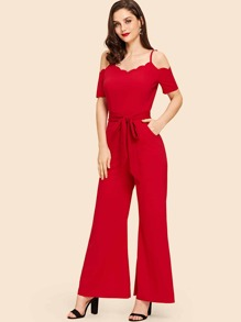 Scalloped Cold Shoulder Palazzo Jumpsuit