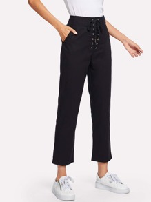 Lace Up Waist Solid Pants
