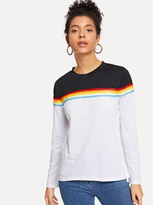 Striped Tape Panel Colorblock Tee