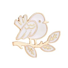 INOpets.com Anything for Pets Parents & Their Pets Bird & Leaf Shaped Brooch