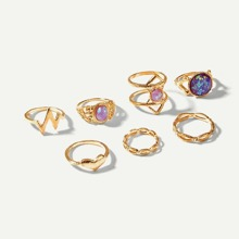 Heart & Triangle Gemstone Ring Set 7pcs