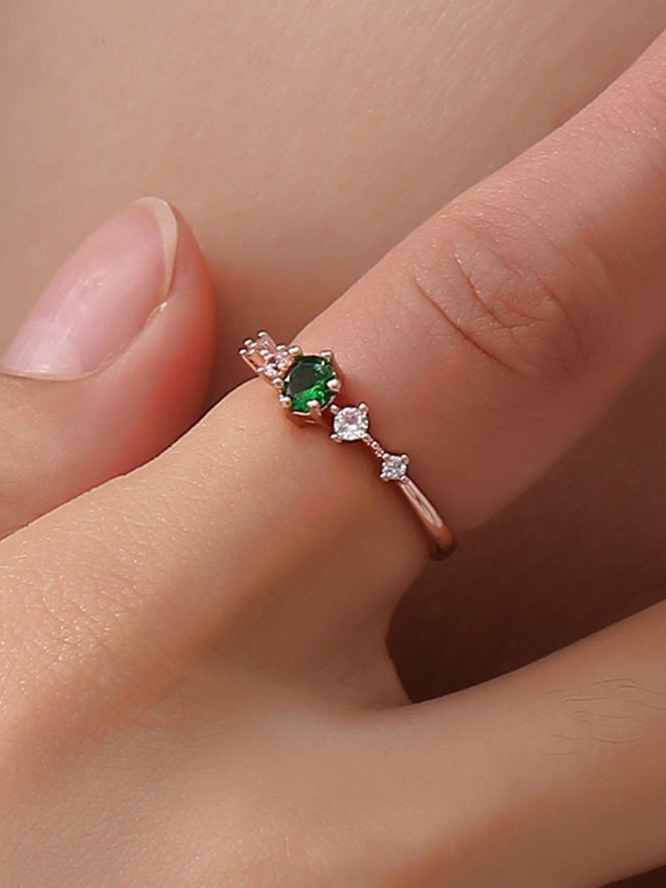 Gemstone Engraved Ring 1pc