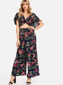 Twist Front Botanical Print Crop Top & Pants Set