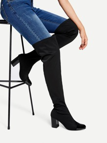 Cap Toe Block Heeled Thigh High Boots
