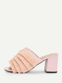 Layered Fringe Detail Heeled Mules