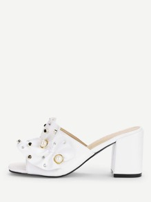 Ruffle Design Faux Pearl Decorated Heeled Mules