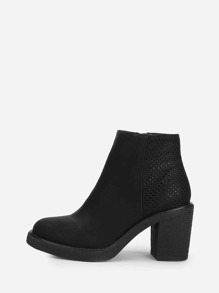 Perforated Back Block Heeled Ankle Boots