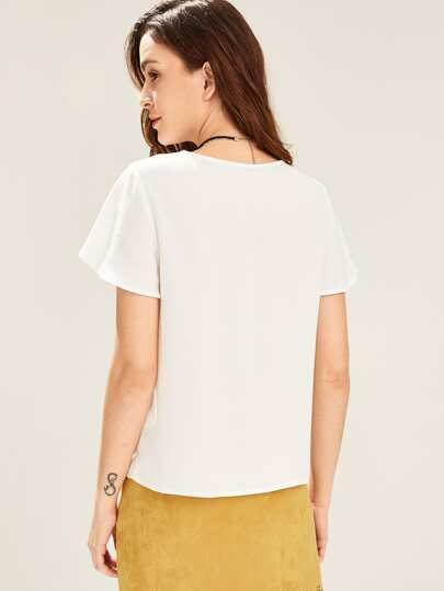 c73dc1856 Casual Simples Ruffle Branco Blusas