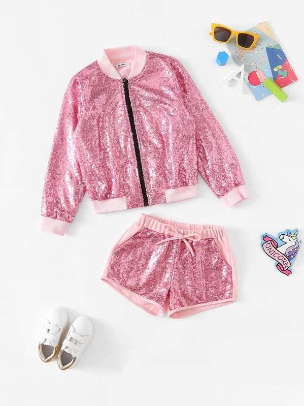 9b1d77e4f Girls Zip Up Sequin Jacket & Shorts Set | SHEIN