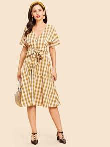 Knot Front Plaid Dress