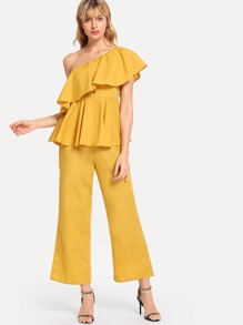 One Shoulder Flounce Peplum Top & Wide Leg Pants Set
