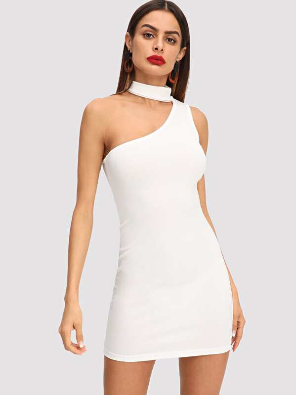 778a82e363 One Shoulder Choker Bodycon Dress | SHEIN