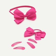 Girls Bow Decorated Hair Accessories Set 6pcs