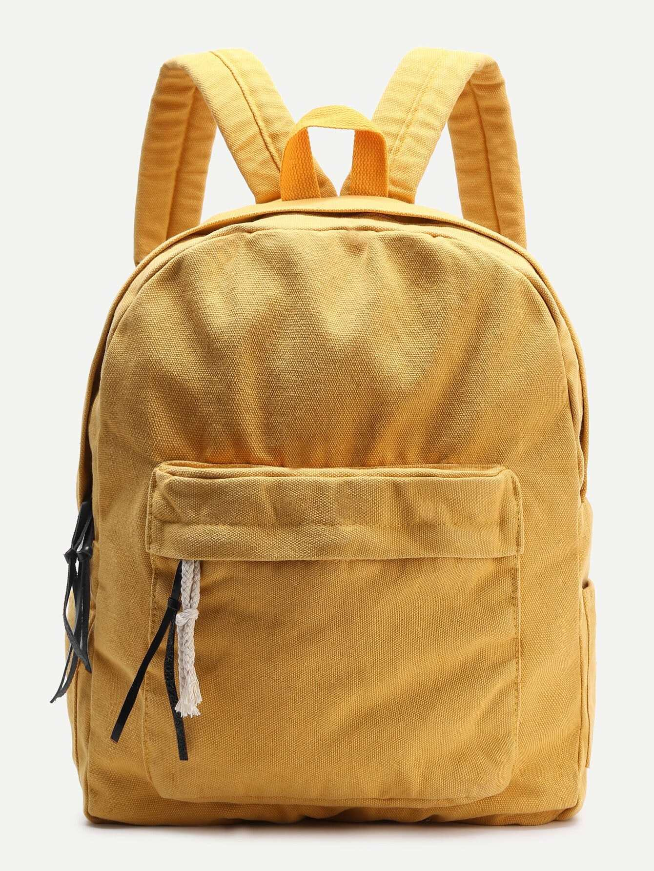 70af37132247 Yellow Zipper Front Canvas Backpack EmmaCloth-Women Fast Fashion Online