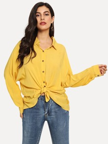 Batwing Sleeve Knot Front Shirt