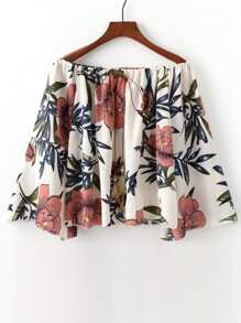 Floral Print Off The Shoulder Blouse