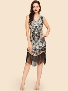 Contrast Sequin Fringe Hem Dress
