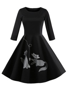 Cat Embroidery Dress