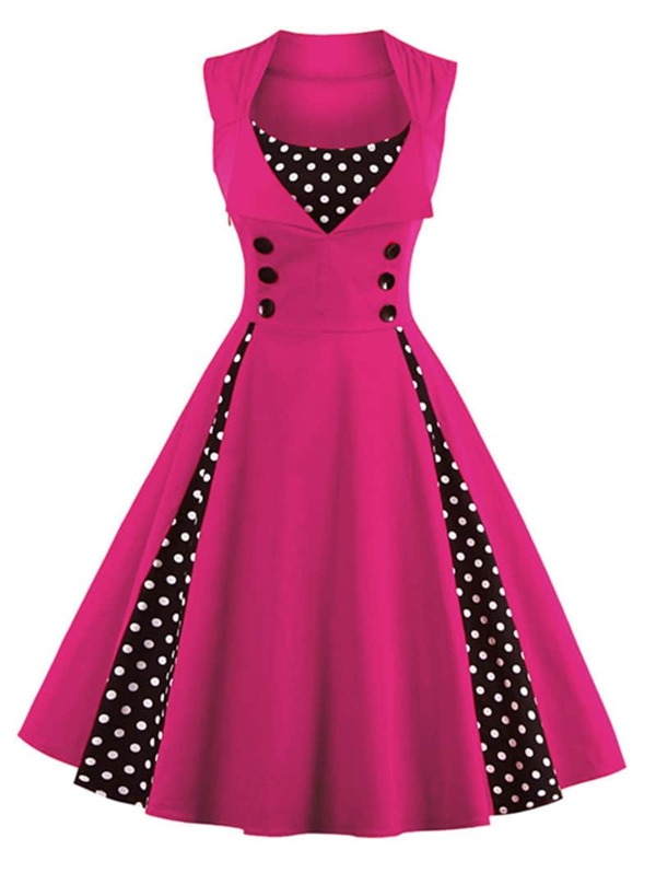 3d2dff26e Contrast Polka Dot Foldover Circle Dress | SHEIN UK