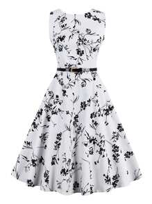All Over Flower Flare Dress With Belt