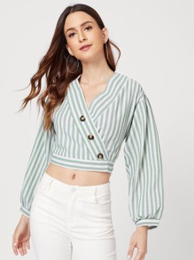 Knot Back Striped Blouse