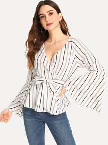 Fluted Sleeve Self Tie Waist Striped Blouse