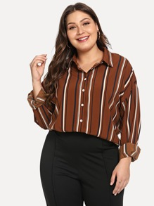 Plus Striped Collar Blouse