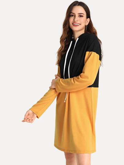 Drawstring Two Tone Hoodie Dress