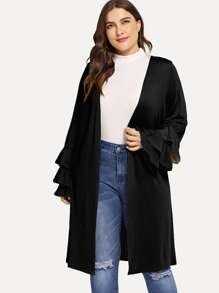 Plus Layered Sleeve Solid Coat