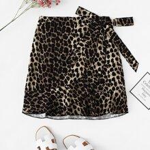 Plus Leopard Print Skirts
