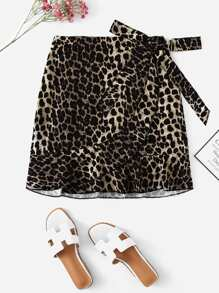 Plus Leopard Print Skirts