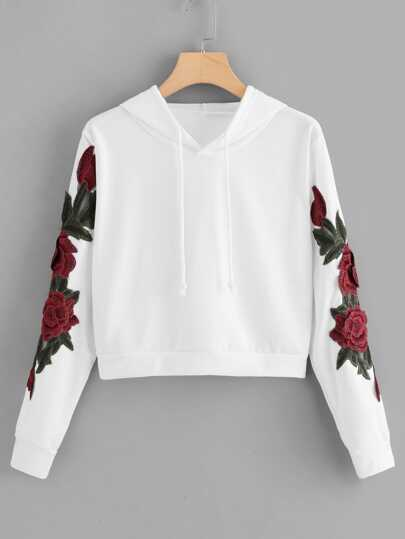 Floral Embroidered Applique Hoodie