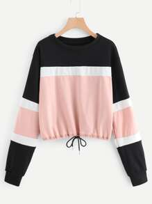 Color Block Drawstring Hem Sweatshirt
