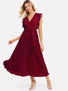 Surplice Belted Ruffled Shoulder Pleated Dress