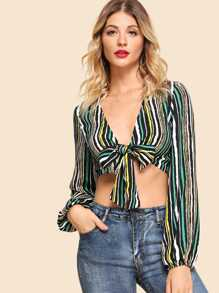 Knot Front V-Neck Striped Top