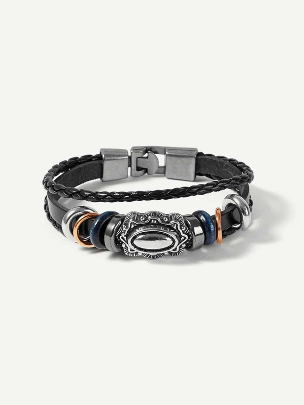 d5c416a8a8 Cheap Men Ring Decorated Layered Woven Bracelet for sale Australia | SHEIN
