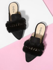 Faux Fur Decorated Point Toe Flat Mules