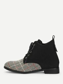 Houndstooth Contrast Lace-up Boots