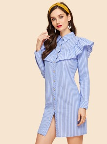 Ruffle Trim Pinstripe Shirt Dress