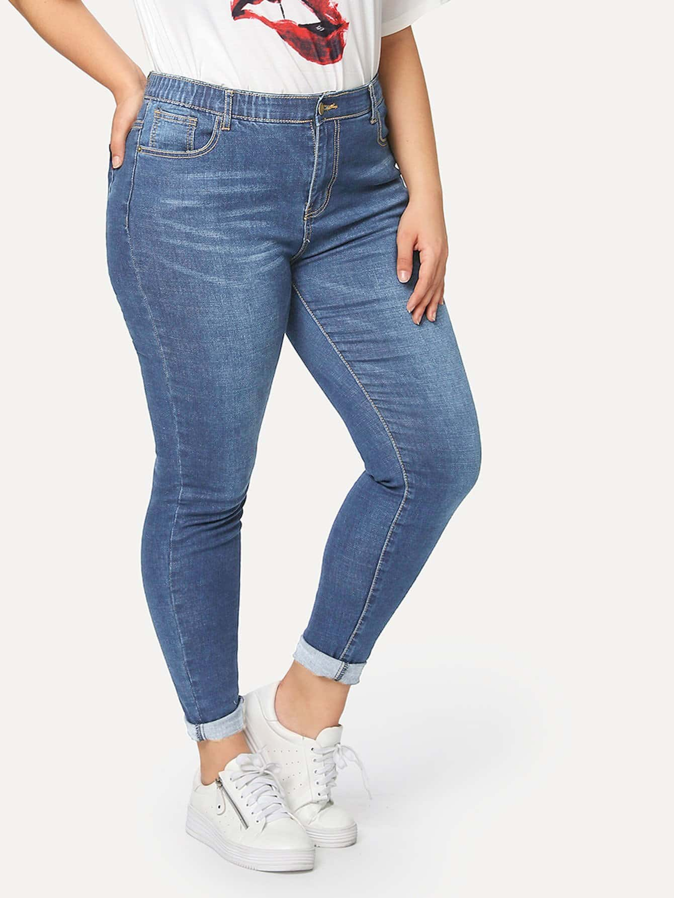 c1139921b50 Plus Bleach Wash Skinny Jeans