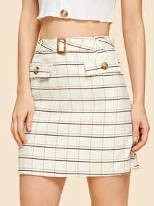 Plaid Fitted Skirt With Buckle Belt