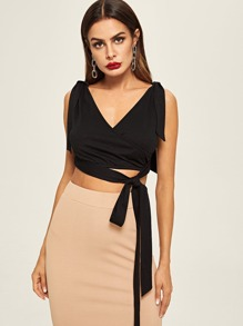 Knotted Shoulder Crop Wrap Top