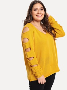 Plus Laddering Cut Sleeve V Neck Sweater