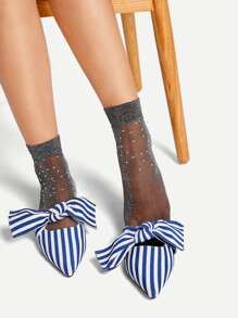 Rhinestone Decorated Socks 1pair