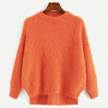 Drop Shoulder High Low Fluffy Sweater