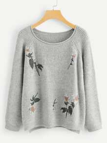 Pearl Detail Floral Embroidered Applique Sweater